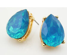 "Joan Rivers Faceted Cabochon PIERCED Earrings 3/4""  BLUE"