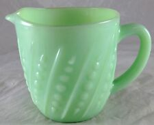 JADITE GREEN GLASS BEAD & BAR BEADED DESIGN JADEITE CREAM PITCHER MILK CREAMER