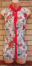 PRIMARK WHITE MULTI COLOR FLORAL PINK TRIM BUTTONED BLOUSE TUNIC TOP CAMI 16 XL