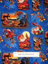 Christmas Cowboy Santa Texas Armadillo Bucking Reindeer Cotton Fabric- HALF YARD