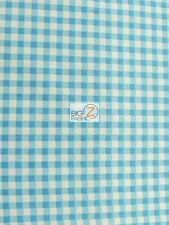 MINI CHECKERED GINGHAM POLY COTTON PRINTED FABRIC - Turquoise - TABLECLOTH BTY