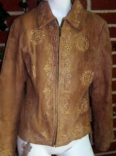 Womens Suede Leather Papillon Embroidered Sequined Patchwork Jacket Womens Small