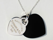 Tiffany & Co Return To Tiffany Silver Double Heart Black Onyx 18 Inch Necklace