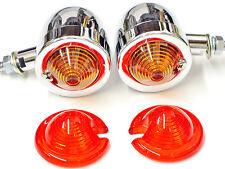 Chrome Bullet Blinkers Turn Signal Light Set retro winker egg Amber/Red Emgo