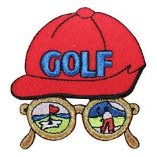 ID 1485 Smaller Golf Hat Sport Glasses Scene Embroidered Iron On Applique Patch