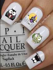 HALLOWEEN NAIL ART SET #667 x12 CUTE OWLS VAMPIRE WATER TRANSFER DECALS STICKERS