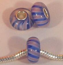 ♥ bead vidrio azul rosa plata Single core European módulo ♥ pbm012
