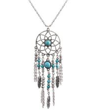 Silver and turquoise dream catcher style flower and leaf chandelier