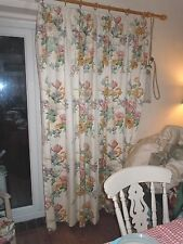 """Vintage curtains in Sanderson """"Fiorella"""", lined and weighed 90"""" wide x 80"""" drop"""