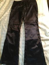 GUESS Womens Black shiny,satin Dress Zipper Flare Hem Pants Sz30 midrise 28X31