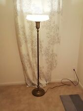 Vtg Hollywood Regency Art Deco/Nouveau brass glass shade torchiere floor lamp***