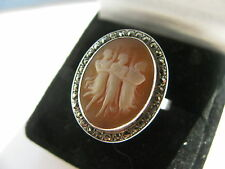 Vintage 800 Silver Three Graces Cameo & Marcasites Ring N 1/2 Usa 7 Nice & RARE