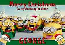 minions personalised A5 Christmas card son daughter brother sister niece name.