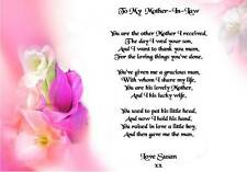 Wedding Day Thank You Gift, Mother in law Poem A5 Photo