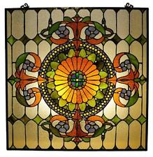 "Tiffany Style Stained Glass Victorian Window Panel 25 X 25"" Handcrafted New"