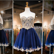 Navy Blue Homecoming Dresses Gold Applique Short Cocktail Prom Graduation Gowns