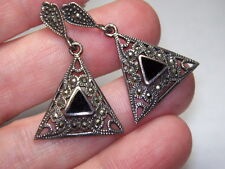 STERLING SILVER 925 ESTATE BLACK ONYX MARCASITE CHARACTER SIGNED EARRINGS