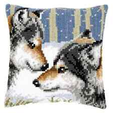 Wolves - Large Holed Tapestry Canvas Cushion Kit/Printed Chunky Cross Stitch