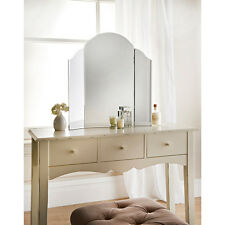Large Triple fold 3 way sections arched edge girls dressing table vanity mirror
