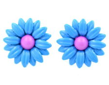 1.5cm 3D blue enamel daisy stud earrings
