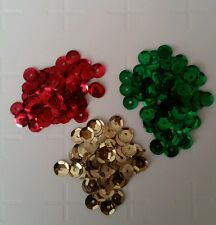 Christmas round sequin shine craft art fun card making green red gold