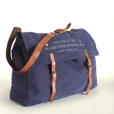 POLO RALPH LAUREN RRL INDIGO CANVAS LEATHER MESSENGER EASTPORT MARITIME BAG $395