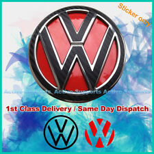 VW Carbon Fibre Style Stickers & Red Inserts for Rear Badge Volkswagen GOLF GTI