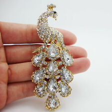 Fashion Peacock Bird Gold-plated Brooch Pin Rhinestone Crystal Clear