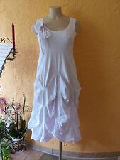 BORIS INDUSTRIES Raff Kleid mit Blume 46 48 (5) NEU! weiß  A-Form LAGENLOOK