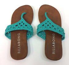 Billabong Flip Flops Sandals T-strap Thong Crochet Teal Women's Size 8
