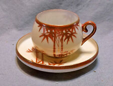 Oriental Demitasse Tea Cup and Saucer, Red & Gold Bamboo