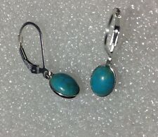 925 Sterling Silver Oval Cabochon Turquoise Leverback Earrings 2.45CTW