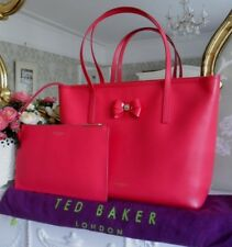 TED BAKER BIANKAA PINK FUCSHIA CROSSHATCH LEATHER LARGE SHOPPER BAG & CLUTCH