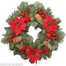 "16"" Luxury Christmas Party RED Poinsettia Pine Wreath Door Wall Decoration"