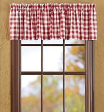 BUFFALO RED CHECK VALANCE : WHITE PLAID COUNTRY COTTAGE CURTAIN