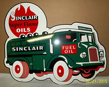 Awesome Sinclair Fuel Oil Truck, Die-Cut Heavy Steel Sign, Porcelain Look & Feel