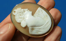 Antique Victorian 9ct Gold Fine Shell Cameo Large Pendant Brooch Luna Goddess