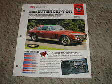 UK 1966-1976 Jensen Interceptor Hot Cars Group 5 # 9 Spec Sheet Brochure