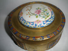 Nice antique   Chinese  enamel brass with porcelain hand painted lid top box