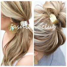 Women Gold Wide Tree Leaves Hair Ring Band Elastic Rope Headband Ponytail Holder