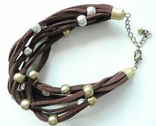 ZARA MULTI ROW BRACELET_RICH BROWN FAUX SUEDE_MATT GOLD & SILVER - NEW