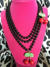 Betsey Johnson Vintage Picnic LARGE Crystal Cherry Cherries Black Long Necklace