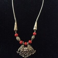 Antique Sterling Silver Nepalese Kirtimukha Protection Pendant Necklace