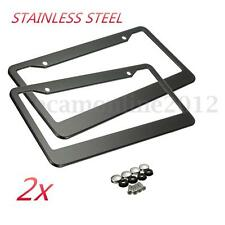 2pcs Universal Car Front/Rear License Plate Frames W/ Screw Caps Tag Cover Black