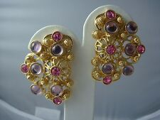 VINTAGE MARBELLA BARRERA FOR AVON ORNATE GOLD LAVENDER PINK GOLD TONE EARRINGS