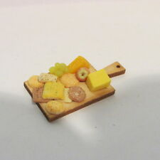Cheese & Biscuit Selection ~ on WOODEN BOARD ~ Doll House Miniature ~ 1/12 scale