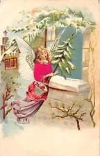 Embossed: Beautiful Woman Angel, Basket, Christmas Tree, Window