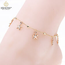 Gold Plated Starfish Chain Anklet Ankle Bracelet Barefoot Sandal Foot Jewelry