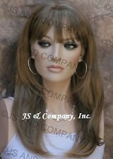 Long FACE FRAME silky straight WIG with Blunt cut Bangs Brow Blonde Mix WASR