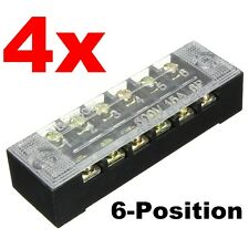 4pcs Double Row Wire Barrier Block Screw Terminal Panel Strip 6 Position 600V